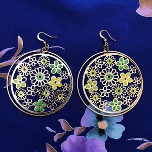 Jewelry - Gold & Green Floral Round Earrings